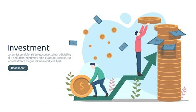 Bedrijfsinvesteringenconcept. dollar stapelmunt, kleine mensen, geld. moderne bestemmingspagina sjabloon