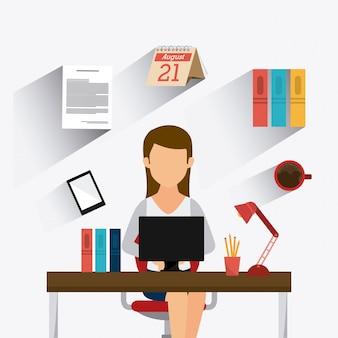Bedrijfskantoor en mens