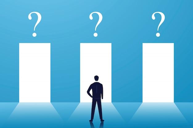 Bedrijfskeuze of besluitconcept, zakenman verwarren en hard nadenken om de juiste deur te kiezen