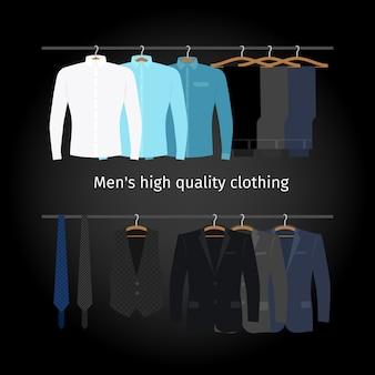 Bedrijfskleding op hangers.