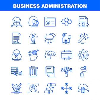 Bedrijfskunde lijn pictogrammen