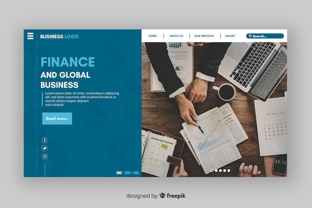 Bedrijfslandingspagina met foto van het bovenaanzicht