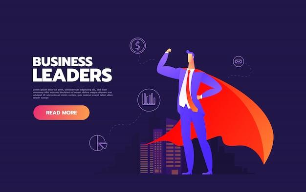 Bedrijfsleider bedrijfs mensen die omhoog naar hun leider kijken.