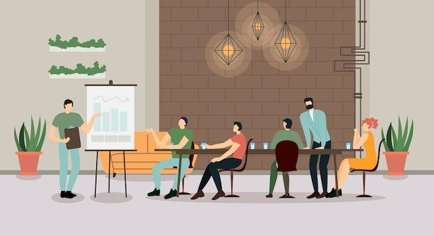 Bedrijfsleider bedrijfsvergadering met werknemers