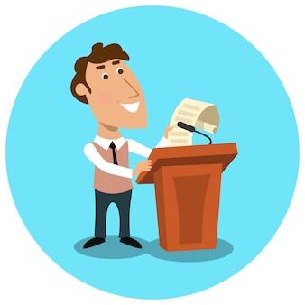 Bedrijfsleider die openbare presentatie maakt