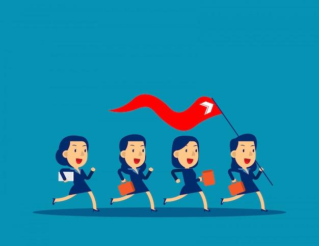 Bedrijfsleider die rode vlag houdt
