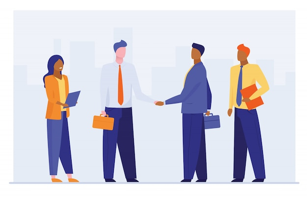 Bedrijfsleiders handen schudden