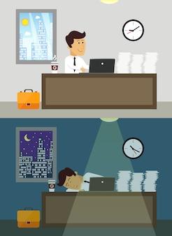 Bedrijfsleven workaholic arbeider in bureau dag en nacht scène vectorillustratie