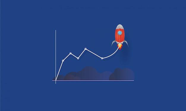Bedrijfslijngrafiek met raket het opstijgen, start aan succes, bedrijfsconcept