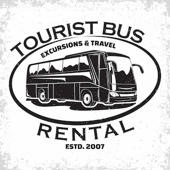 Bedrijfslogo van busreizen, embleem van excursie- of toeristenbusverhuurorganisatie, postzegels van reisbureaus, embleem van bustypografie,