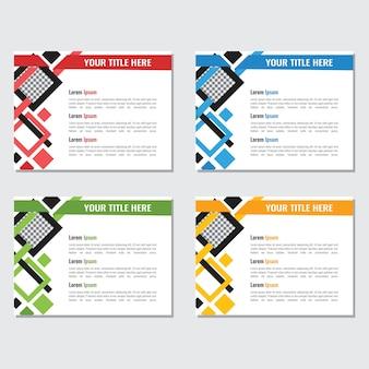 Bedrijfsmachtspuntmalplaatje met kleurrijke ruitsamenvatting die wordt geplaatst