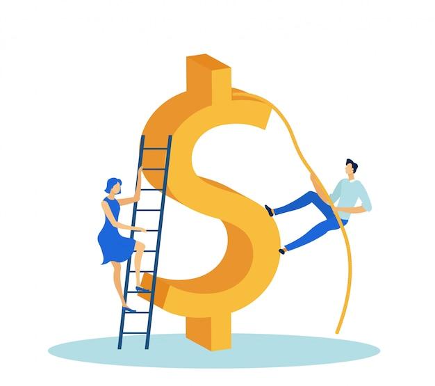 Bedrijfsman en vrouw die dollarteken vlak beklimmen.