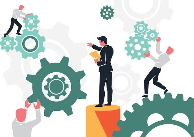 Bedrijfsmanagers zetten teams samen om samen te werken
