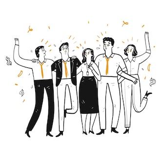 Bedrijfsmedewerker of zakenman loop in de lijn praat vrolijk