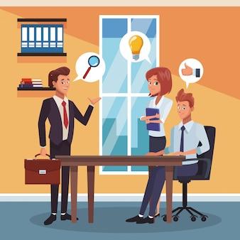 Bedrijfsmedewerkers op kantoor
