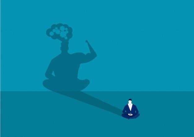 Bedrijfsmeditatie met groot de machtsconcept van de schaduw menselijk energie
