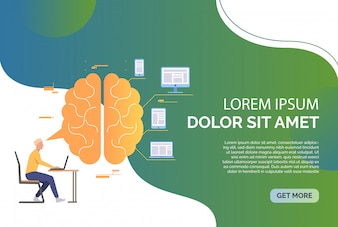 Bedrijfsmens die aan laptop, hersenen, apparaten en steekproeftekst werken