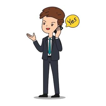 Bedrijfsmens die door smartphone spreken