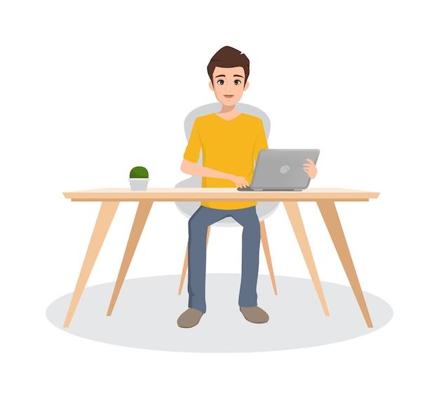 Bedrijfsmens die met laptop karakter in bureauruimte werken.