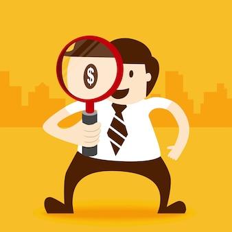 Bedrijfsmens die met magnifier kijken