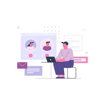 Bedrijfsmens die met online collega's werken
