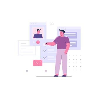 Bedrijfsmens die met online collega werken