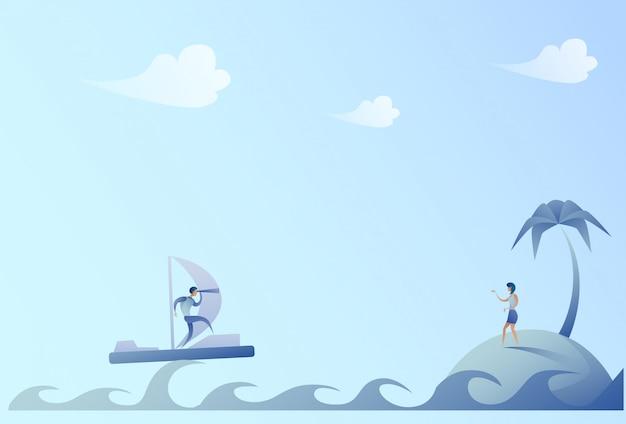 Bedrijfsmens die op boot varen die met binoculaire onderneemster op het concept van het eilandsucces kijken