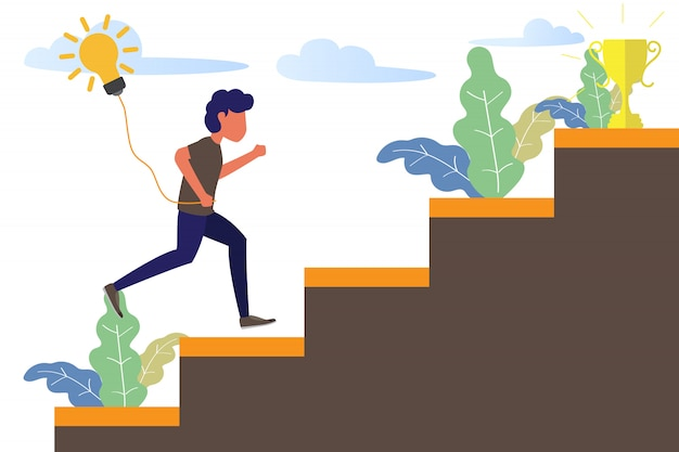 Bedrijfsmens die op trede aan succestrofee lopen.
