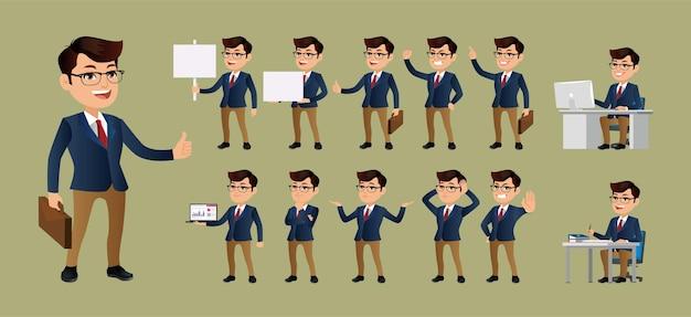 Bedrijfsmens met verschillende geplaatste gebaren