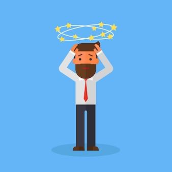 Bedrijfsmens met vliegende sterren rond zijn hoofd