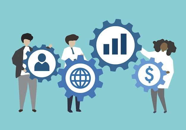 Bedrijfsmensen die aan toestellenillustratie verbinden