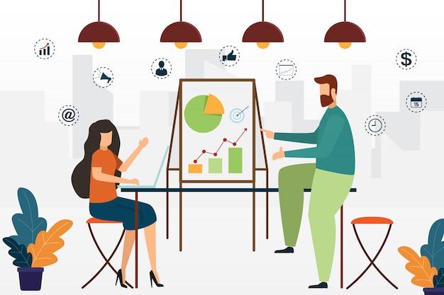 Bedrijfsmensen die bespreking ontmoeten en samenwerken