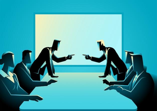 Bedrijfsmensen die bij vergaderzaal debatteren