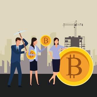 Bedrijfsmensen die cryptocurrency houden