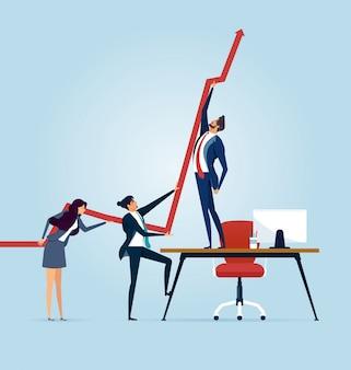 Bedrijfsmensen die een bedrijfsgrafiek naar omhoog duwen