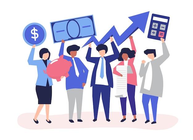 Bedrijfsmensen die financieel de groeiconcept houden