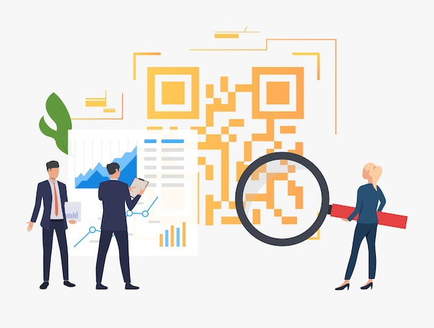 Bedrijfsmensen die financiële gegevens en grote qr-code analyseren