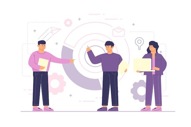 Bedrijfsmensen die geïllustreerd thema werken