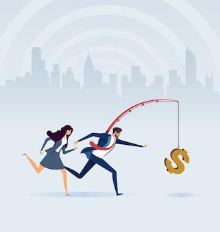 Bedrijfsmensen die geld op hengel achtervolgen