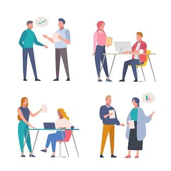 Bedrijfsmensen die illustratieontwerp werken