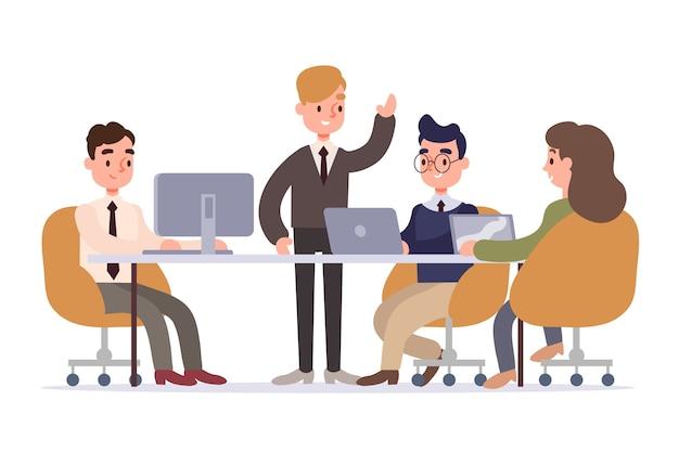 Bedrijfsmensen die illustratiestijl werken