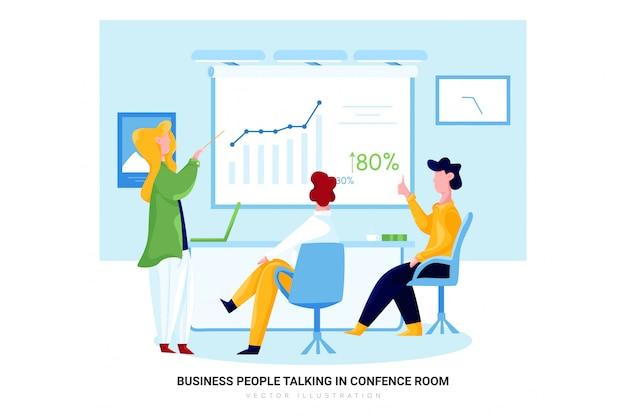 Bedrijfsmensen die in conferentieruimte spreken