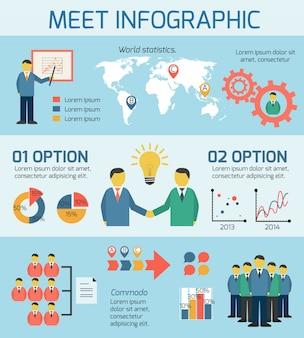 Bedrijfsmensen die infographics ontmoeten