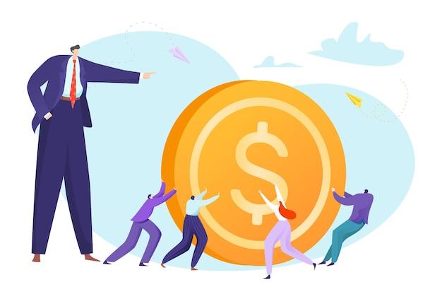 Bedrijfsmensen die muntstuk trekken