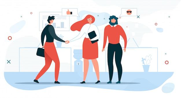Bedrijfsmensen die vlak vectorconcept communiceren