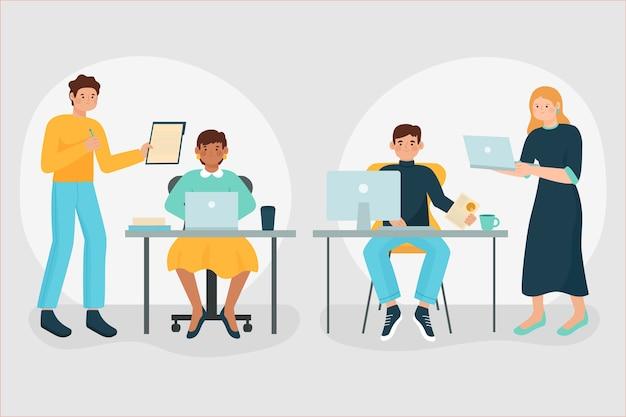 Bedrijfsmensen geïllustreerd werken
