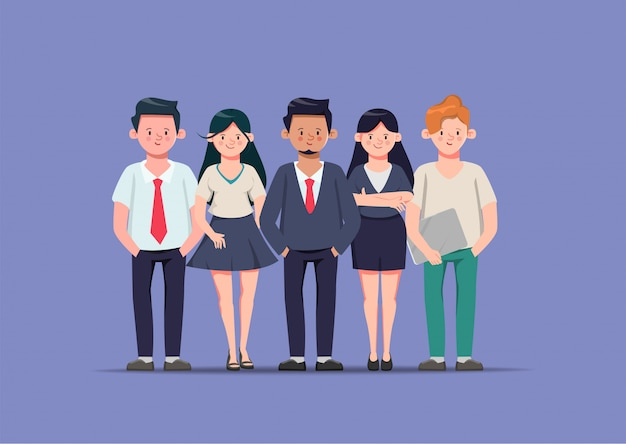 Bedrijfsmensen in organisatiekantoor met zakenman en onderneemster en freelance baankarakter.