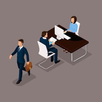 Bedrijfsmensen isometrische reeks vrouwen met mannen, praatje, een gesprek in een bureau dat tegen een donkere achtergrond wordt geïsoleerd