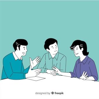 Bedrijfsmensen op het kantoor in koreaanse tekeningsstijl met blauwe achtergrond