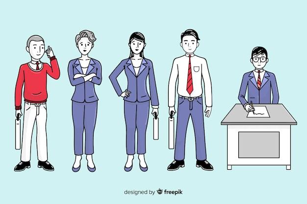 Bedrijfsmensen op het kantoor in koreaanse tekeningsstijl
